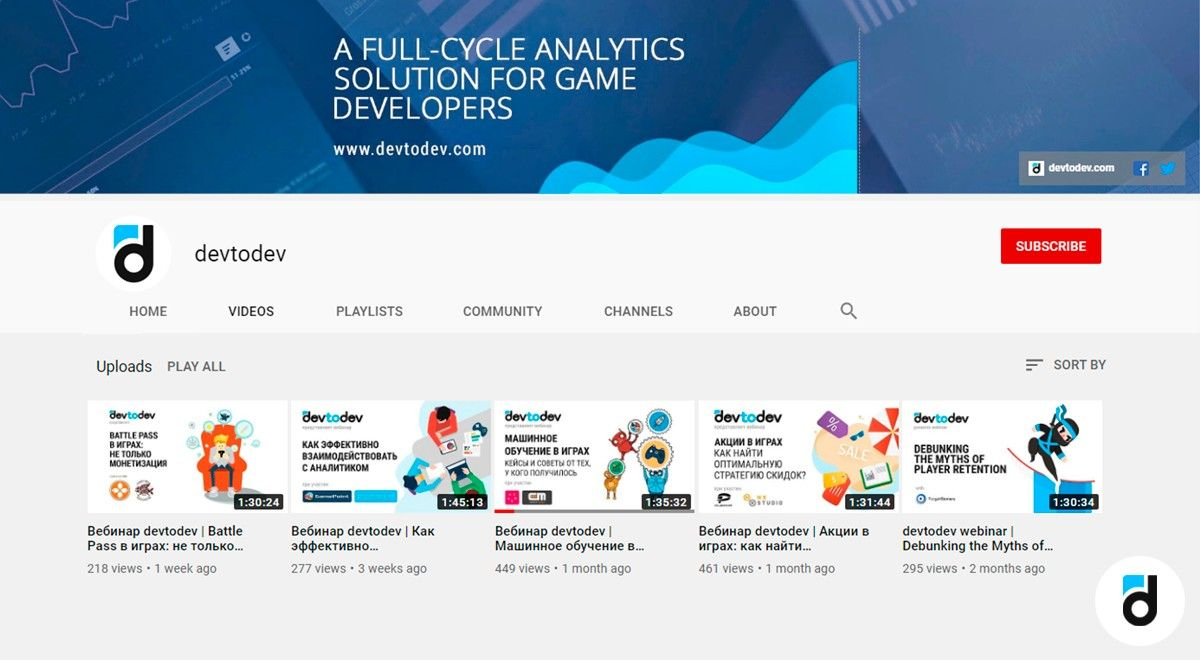Devtodev_youtube_channel_analytics