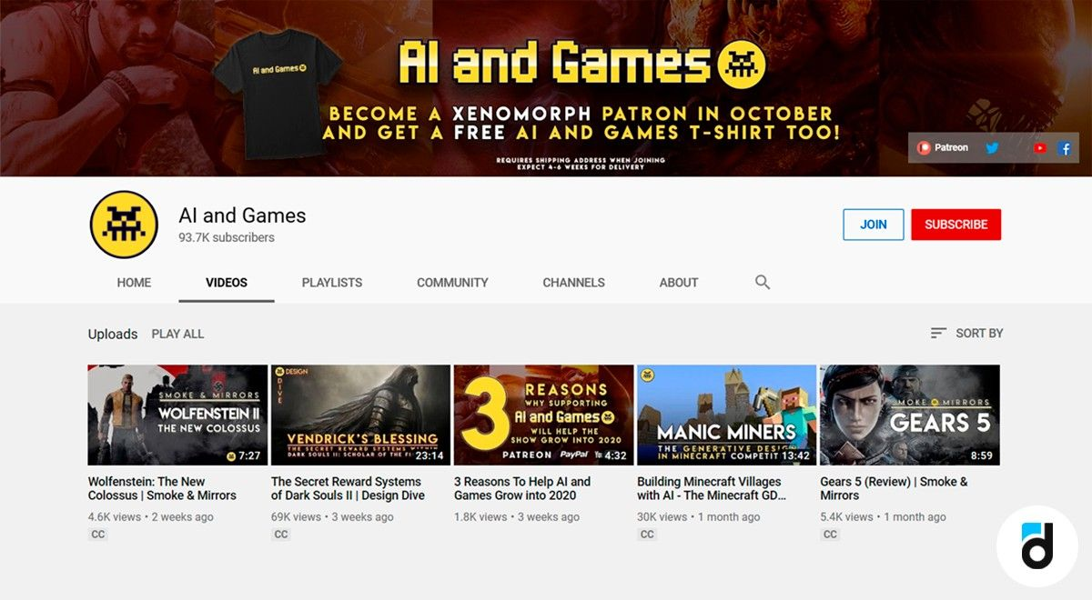 AI and games youtube channel