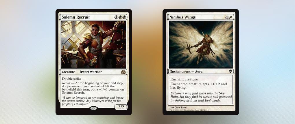 Solemn Recruit и Nimbus Wings – две белые карты из MtG.