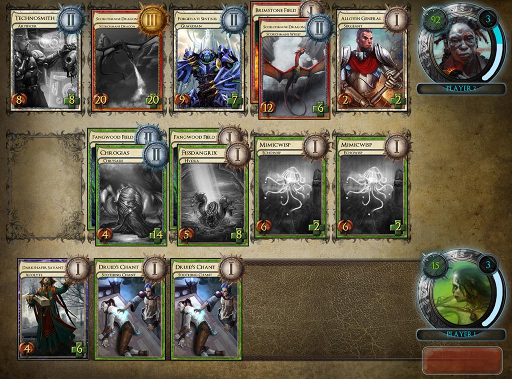 В клеточных играх у каждого игрока есть несколько клеток, в которые помещаются призванные существа, и эти клетки располагаются друг против друга.